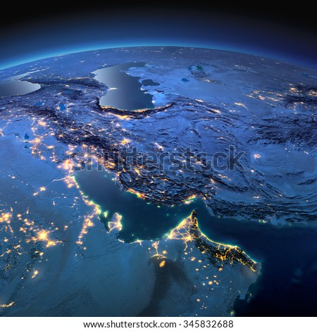 Night planet Earth with precise detailed relief and city lights illuminated by moonlight. Persian Gulf. Elements of this image furnished by NASA - stock photo