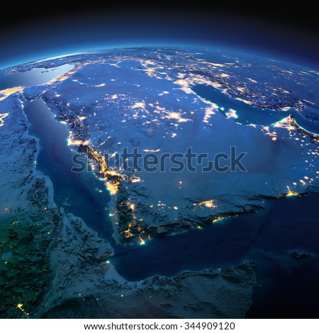 Night planet Earth with precise detailed relief and city lights illuminated by moonlight. Saudi Arabia. Elements of this image furnished by NASA - stock photo