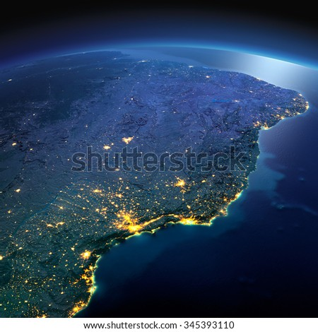 Night planet Earth with precise detailed relief and city lights illuminated by moonlight. South America. East Coast of Brazil. Elements of this image furnished by NASA - stock photo
