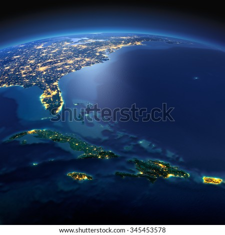 Night planet Earth with precise detailed relief and city lights illuminated by moonlight. South America. Caribbean islands. Cuba, Haiti, Jamaica. Elements of this image furnished by NASA - stock photo