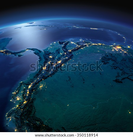 Night planet Earth with precise detailed relief and city lights illuminated by moonlight.  The western part of South America. Peru, Ecuador, Colombia. Elements of this image furnished by NASA - stock photo