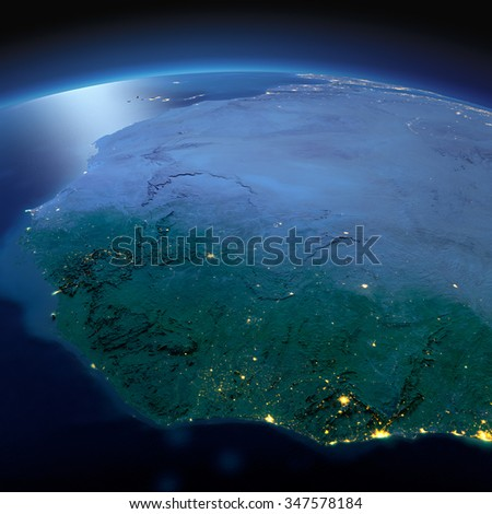 Night planet Earth with precise detailed relief and city lights illuminated by moonlight. West African countries. Elements of this image furnished by NASA - stock photo