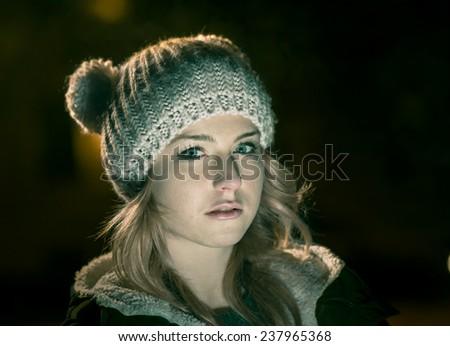 Night portrait - stock photo