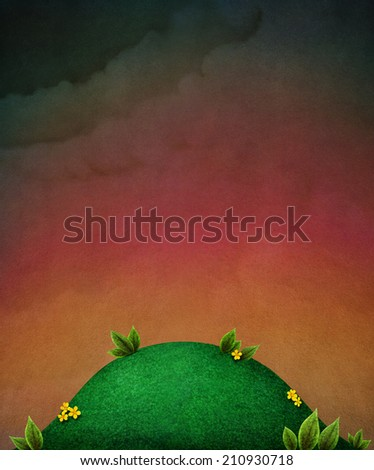 Night red textured background with lawn and flowers - stock photo