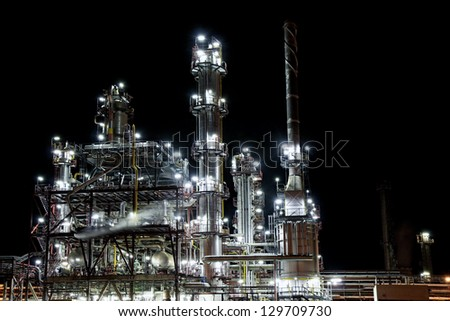 night refinery factory for petrol production - stock photo