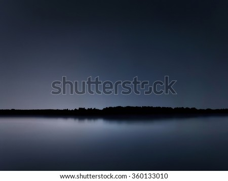 Night reflection, Blue Serenity night - stock photo