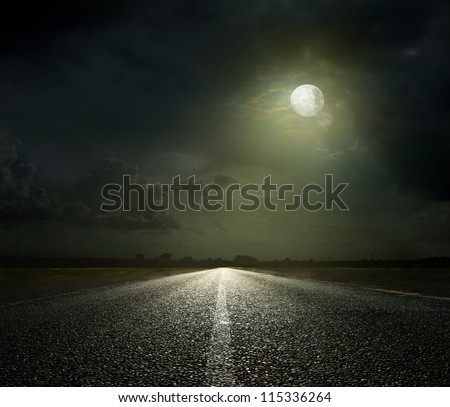 Night Road and moonlight - stock photo