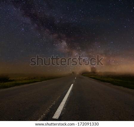 night road scene - stock photo