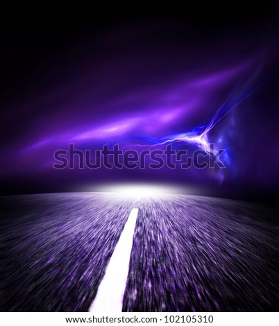 Night road. Sky with flash. - stock photo