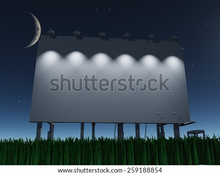 Night roadside billboard - stock photo