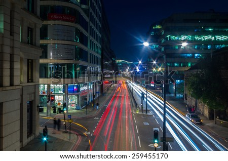 Night rtaffic in London,Uk - stock photo
