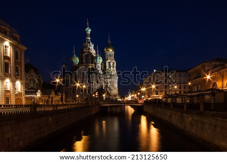 "Night ""Savior on Spilled Blood"" Cathedral in St. Petersburg, Russia. - stock photo"