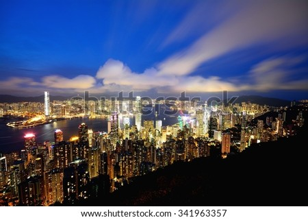 Night-scape from Victoria peak at Hong Kong