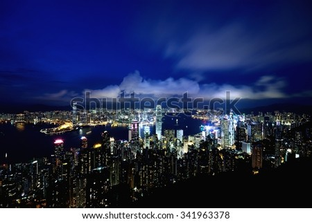 Night-scape from Victoria peak at Hong Kong - stock photo