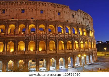 Night Scene at Colosseum (Flavian Amphitheatre)in Rome - stock photo
