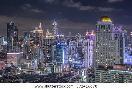 night scene, BANGKOK /THAILAND-June 8.Skyline at IDEO condo showing the built Centara Grand Thailand on June 8,2015.