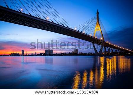 Night Scene Bhumibol Bridge, Bangkok, Thailand - stock photo