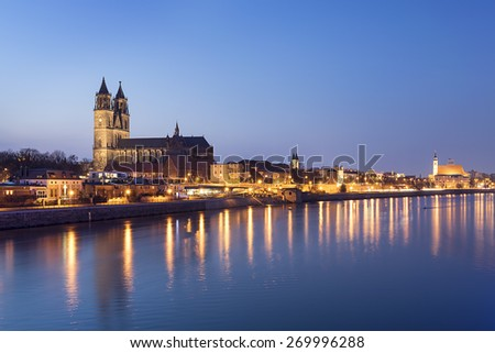 Night scene city Magdeburg with river Elbe in Saxony Anhalt Germany - stock photo