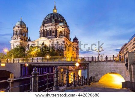 Night Scene from Berlin Cathedral on the River Spree, Germany - stock photo