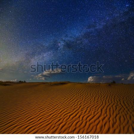 night scene in a sand desert - stock photo
