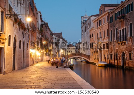 Night scene in historic residential neighborhood in Venice - stock photo