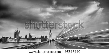 Night Scene in London. Westminster Palace lights. - stock photo