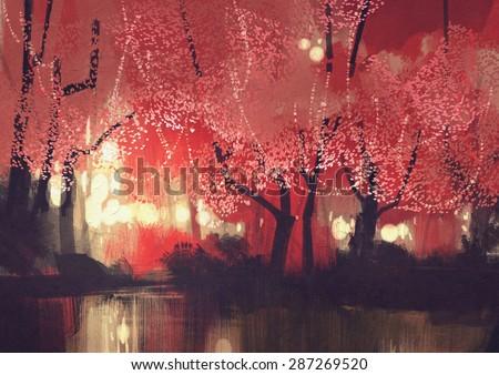 night scene of autumn forest,fantasy landscape painting - stock photo