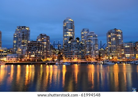 night scene of city from granville island, vancouver, british columbia, canada