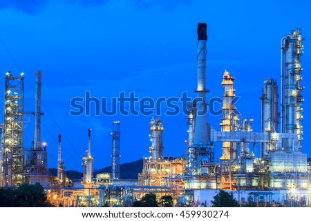 Night scene of detail of a heavy Chemical Industrial plant with refinery of pipes in twilight - stock photo