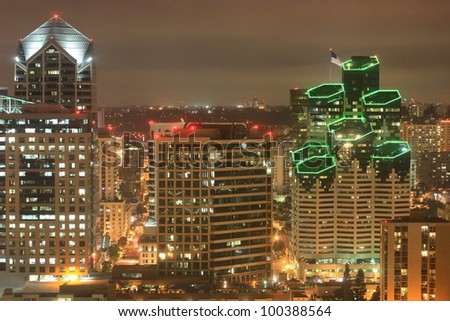 Night scene of Downtown San Diego California - stock photo