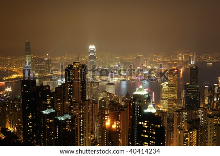 Night scene of Hong Kong from the Peak