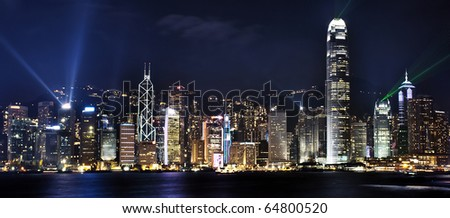 Night scene of Hongkong Victoria Harbor