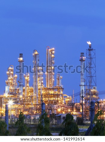 Night scene of Industrial Plant with blue sky