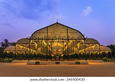 night scene of Lalbagh park in Bangalore City, India - stock photo