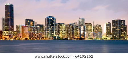 Night scene of Miami buildings