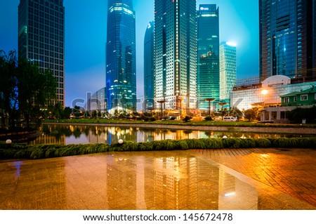 night scene of modern city - stock photo
