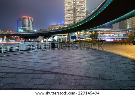 night scene of modern city - stock photo