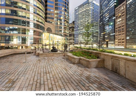 night scene of modern city,?Hong Kong - stock photo