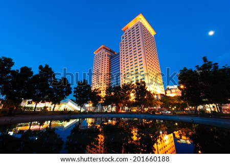 Night scene of office buildings in new Taipei city, Taiwan - stock photo