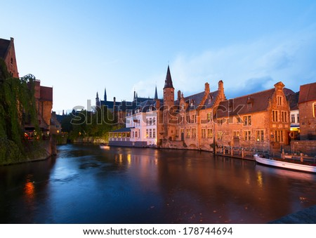 night scene of old town with canal ,  Brugge, Belgium - stock photo