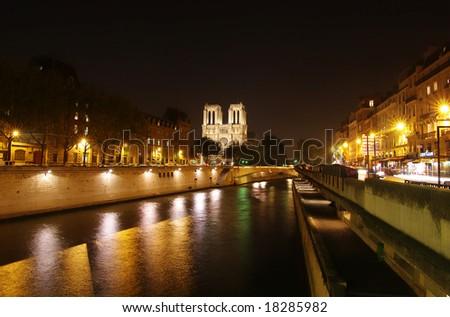 night scene of Paris - stock photo