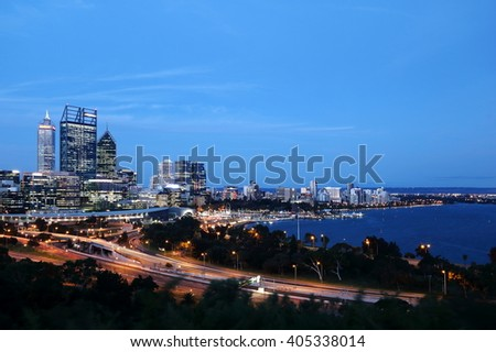Night scene of Perth city center, at the water front of Swan River - stock photo