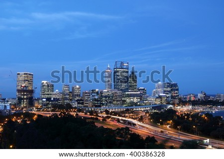 Night scene of Perth's central business district and waterfront - stock photo