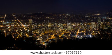 Night Scene of Portland Oregon Downtown Cityscape Panorama