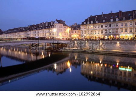 Night scene of Quai Vauban in the city of Besancon (Franche-Comte province in eastern France). - stock photo