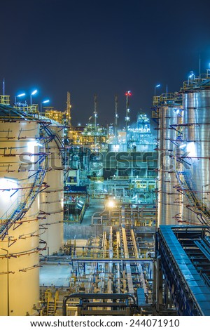 Night scene of Refinery industrial factory - stock photo