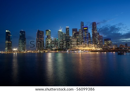 Night scene of Singapore Financial District skyline in the twilight hours