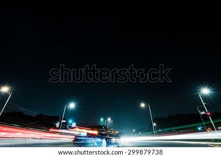 Night scene of street in Japan - stock photo