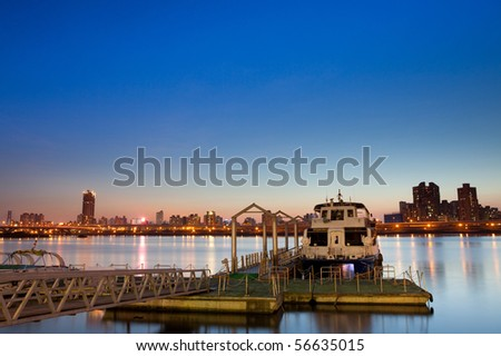 Night scene of Taipei ports - stock photo