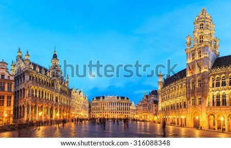 night scene of the Grand Place, the focal point of Brussels, Belgium.